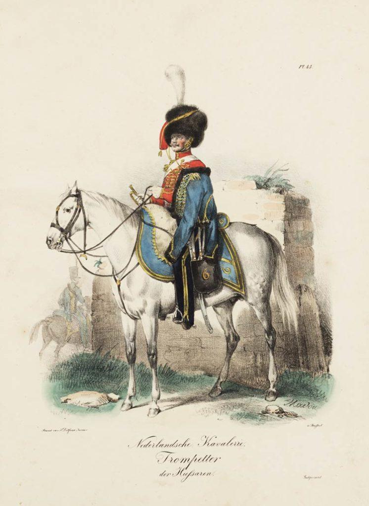 Trompetter te paard in het uniform van het Regiment Huzaren no. 6